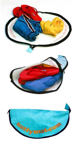 It's the perfect swimming gift - it's a personal foot mat and it's a zip up bag for your swimming things!